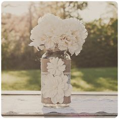 Lace and burlap wedding centerpiece. Lace and burlap wedding. Ivory lace.