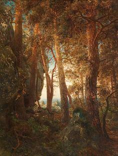 Hans Gude (1825-1903): Skogsinteriør, 1850