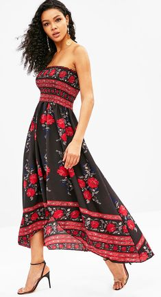 79cc975a1c black floral beach dress High Low Split Floral Smocked Dresses Style   Casual Occasions  Beach