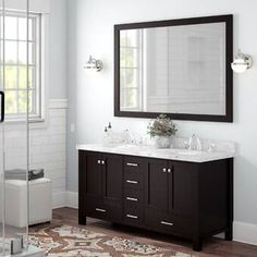 Get inspired by Scandinavian Bathroom Design photo by Andover Mills. Wayfair lets you find the designer products in the photo and get ideas from thousands of other Scandinavian Bathroom Design photos. White Vanity Bathroom, Single Sink Bathroom Vanity, Wood Bathroom, Bathroom Vanities, Modern Bathroom, Master Bathroom, Bathroom Ideas, Bathrooms, Silver Wall Mirror