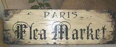 French Vintage Style Sign PARIS FLEA MARKET