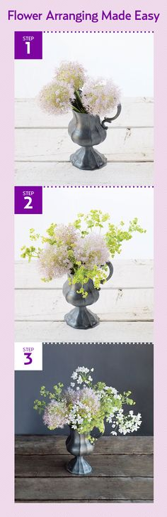 How to make this flower arrangement using 'Millenium' allium, lady's mantle, and white garlic: http://www.countryliving.com/cooking/entertaining/easy-flower-arrangements