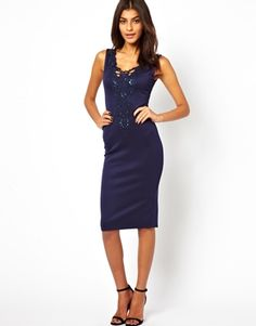 Image 1 of John Zack Midi Dress With Lace Bib Front