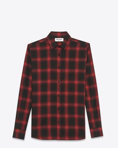 ccd82b808da signature yves collar shirt in black and red plaid cotton and tencel