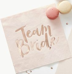 "These Ginger Ray Metallic Rose Gold Team Bride Lunch Napkins are perfect for balancing snacks in style as you celebrate your engagement. They are square, pink napkins with metallic rose gold script that reads ""Team Bride. Classy Bachelorette Party, Bachelorette Decorations, Bachelorette Party Supplies, Bridal Shower Decorations, Rose Gold Paper, Rose Gold Foil, Rose Gold Theme, Bridal Shower Photos, Party Napkins"