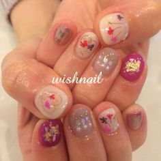 wishnailさんのネイル♪[2051689]|ネイルブック Manicure And Pedicure, Short Nails, Fun Nails, Nail Art Designs, Pretty, Japanese, Detail, Beauty, Fingernail Designs