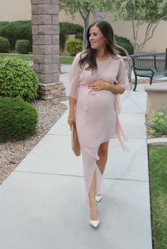 Blush Pink Silk Asymetrical Dress, Ivory Heels, Tan Leather Clutch, BCBG, JCrew 7