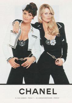 Chanel S/S 1991. Models : Helena Christensen & Claudia Schiffer