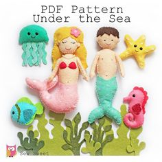 Under the sea felt softies pdf pattern, sew your own, mermaid, merman, sewing pa… – Sewing Projects Softies, Blanket Stitch, Running Stitch, Cute Plush, Sewing Basics, Pdf Sewing Patterns, Cool Patterns, Felt Crafts, Under The Sea