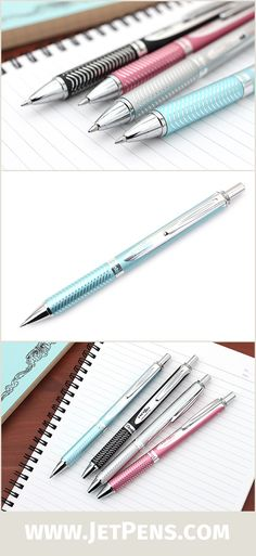 The Pentel EnerGel Alloy Gel Ink Pens feature an attractive, high-quality aluminum alloy barrel.