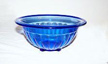 "Hazel Atlas - Pillar Optic Rib - Mixing Bowl - Cobalt - 6 5/8"""