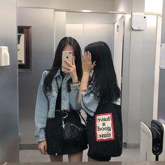Korean Couple, Korean Girl, Asian Girl, Best Friend Photos, Best Friend Goals, Fashion Line, Girl Fashion, Korean Best Friends, Girl Friendship