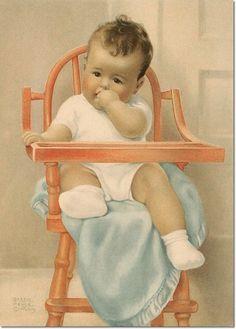 """Bessie pease gutmann calendar art print baby in highchair throne """"his majesty"""" Bessie Pease Gutmann, Baby Illustration, Precious Children, Baby Art, Baby Kind, Baby Prints, Vintage Pictures, Vintage Cards, Vintage Postcards"""