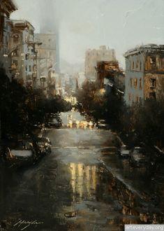 2   Hsin-Yao Tseng - Син-Яо Цзэн. Рассвет и закат в Сан-Франциско   ARTeveryday.org