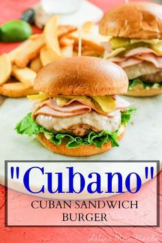 The Cubano is the next MUST MAKE hamburger this Spring and Summer! Ground pork, sliced ham, Swiss cheese, pickles, and some yummy goodness complete this Cubano! Cuban Sandwich, Sandwich Recipes, Picnic Recipes, Dinner Dishes, Food Dishes, Food Food, Main Dishes, Pork Burgers, Gourmet Burgers