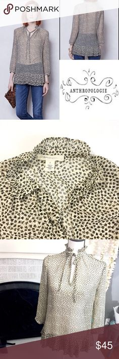 "{Anthropologie} clover print blouse Super cute and perfect for layering. Semi sheer 'Clover Valley' printed blouse with ties and ruffle details. From 'Portrait of a Girl'  measure 18"" from shoulder seam to wrist and 26"" from back neck seam to bottom ruffle.      #4 Anthropologie Tops Button Down Shirts"