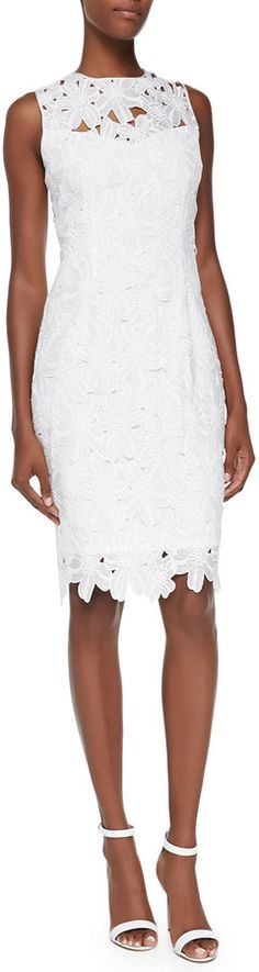 $139, White Lace Sheath Dress: Carmen Marc Valvo Sleeveless Floral Lace Sheath Dress Ivory. Sold by Neiman Marcus.