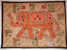 HANDMADE ELEPHANT BOHEMIAN PATCHWORK WALL HANGING EMBROIDERED TAPESTRY INDIA E85…