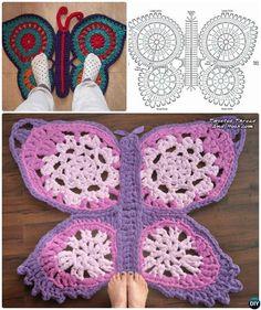 Crochet Butterfly Rug Free Diagram