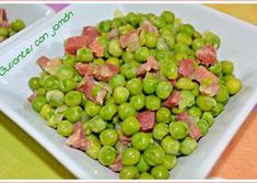Guisantes con jamón. (Thermomix) Fruit, Food, Pea Recipes, Sweets, Food Processor, Dinners, Essen, Meals, Yemek