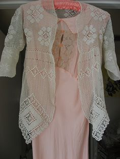 Filet crochet - A child's garment, from the Edwardian era, a matinee jacket. ~ Joules Vintage