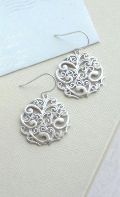 Silver Paisley Filigree Chandelier Drops Earrings