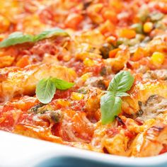 This chicken tomato casserole, also has beans, corn, green beans, seasonings and mozzarella cheese.  It is easy to put together and baked in the oven.