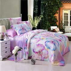 [$169.99] Purple White and Blue Abstract Chic Flower Print 100% Modal Tencel Full, Queen Size Bedding Duvet Cover Sets - Free Shipping