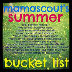what do you think of summer bucket lists? a good way to organize some fun? or too much control over a fun time of year?