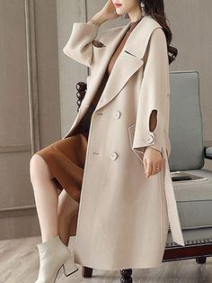 Lapel Double Breasted Belt Plain Longline Woolen Coat - fashionMia.com