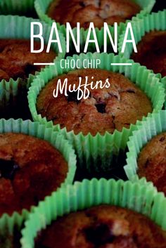 BANANA & CHOCOLATE CHIP Muffins, baking, cake, cupcakes
