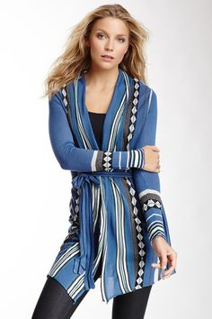 Multicolor Belted Open Front Cardigan