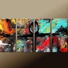 Original de arte abstracto pintura 4pc Original por encargo a
