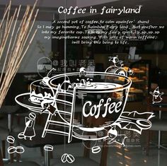 Vinyl Wall Decal Creative Coffee Cup Milk Tea Window Glass Sticker Coffee Shop Decoration Removeable Decorative