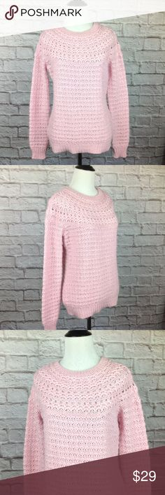 Ralph Lauren Sweater Medium Alpaca Wool Crochet Great condition;  Ralph Lauren Sweater Women Medium Alpaca Wool Crochet Loose Knit Pink Crew Neck; 70/25/5 Acrylic/Alpaca/Wool 25 inch length 19 inch across bust Lauren Ralph Lauren Sweaters Crew & Scoop Necks