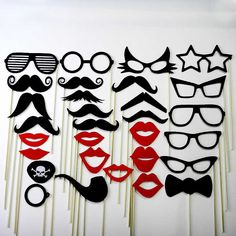 Mustache On A Stick Photo Booth Mask Prop for Wedding Partys 30 Piece Set - Lips, Glasses, Pirate Eye Patch , Bow Tie , Pipe.