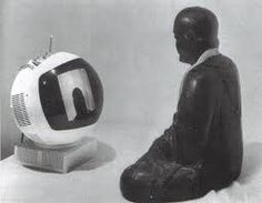 """Nam June Paik TV Buddha 1974 THIS IS WHERE I MET JOHN CAGE...I WAS LOOKING AT THE BUDDHA CONTMPLATING HIMSELF & CAGE WALKED UP AND COMMENTED """"NICE PIECE...""""   Richard Crawford"""