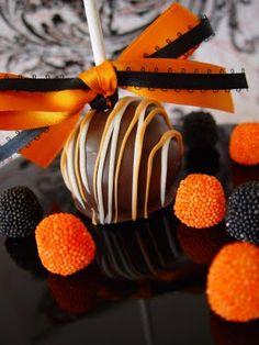 Halloween cake pops...love the drizzle & the orange & black ribbon