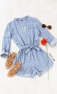 Plaid Surplice Front Self-Tie Romper - Jumpsuits and Romper Trendy Outfits, Summer Outfits, Cute Outfits, Fashion Outfits, Womens Fashion, Rompers For Teens, Cute Rompers, Look Fashion, Get Dressed