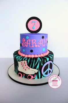 Rollerskate cake for a rollerskating party. Buttercream cake with fondant and modeling chocolate accents.