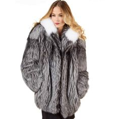 FRR The Abby Silver Fox Fur Parka Coat with Hood for Women ($3,000) ❤ liked on Polyvore featuring outerwear, coats, fur-collar coat, long parka, shawl collar coat, fox fur coat and fox fur collar coat