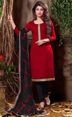 USD 21.68 Red Cotton Jacquard Churidar Suit 55952