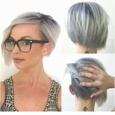 Chic Asymmetrical Bob hairstyle with glasses                                                                                                                                                                                 More