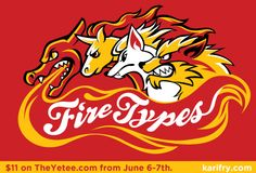 FireTypes, a pokemon-inspired tee on TheYetee.com June 6-7th.