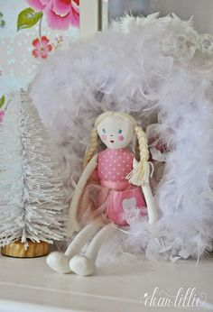 The Girls' Christmas Bedroom by Dear Lillie Yarn Trees, Large Picture Frames, Unicorn Ornaments, Dear Lillie, Christmas Bedroom, Pom Pom Garland, Little Unicorn, Bolster Pillow, Trim Color