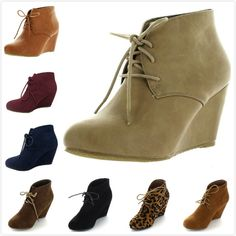 NEW Women's Almond Toe Lace Up High Heel Platform Wedge Ankle Booties Shoes #Unbranded #PlatformsWedges #Casual