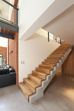 Home Modern Two - Aneta Rajek Home Stairs Design, Railing Design, Interior Stairs, House Design, Concrete Stairs, Wood Stairs, House Stairs, Bedroom False Ceiling Design, Stair Handrail