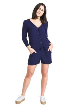 74606c89c51 Cute Playsuit in soft silky fabric. Shorts-suit buttons up the front with a