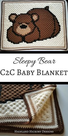Crochet the Sleepy Bear Baby Blanket using this free C2C (corner to corner) graph pattern! Written line by line instructions are available for purchase. This sweet baby afghan is stroller sized and light enough for warm weather. #crochet #freecrochetpattern #babyblanket #c2cpattern #c2cgraph #babyshower #giftforbaby