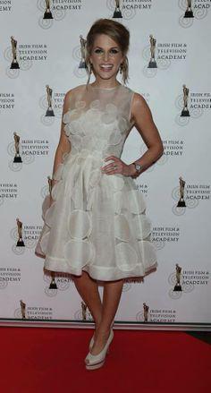 Irish Actress Amy Huberman wearing Newbridge Silverware Greta Garbo Earrings and Watch #NewbridgeJewellery